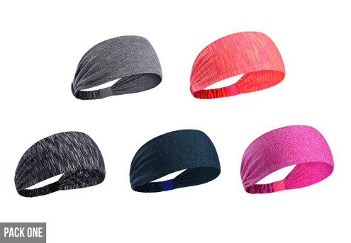Five-Pack of Sports Fitness Headbands - Two Options Available