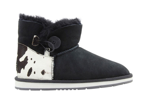 ​Auzland Women's 'Barbra' Cow Print Sheepskin Ankle Button UGG Boots