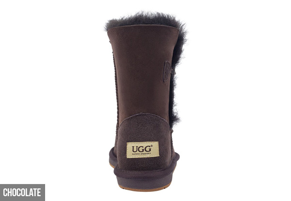 Auzland Unisex 'Cedar' Single Button Australian Sheepskin 3/4 UGG Boots - Four Colours Available