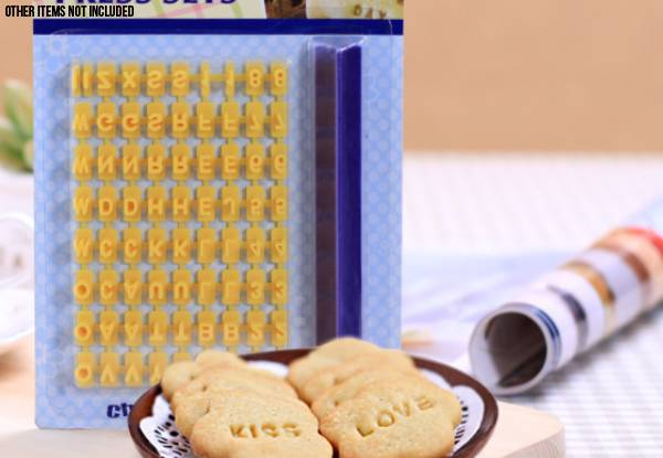 Set of Two 74-Piece Cookie Alphabet Stamps
