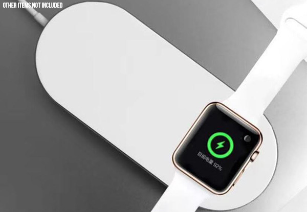 Two-in-One Wireless Charging Pad Compatible with iPhone & Apple Watch