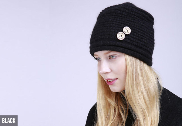 Knitted Button Beanie - Eight Colours Available