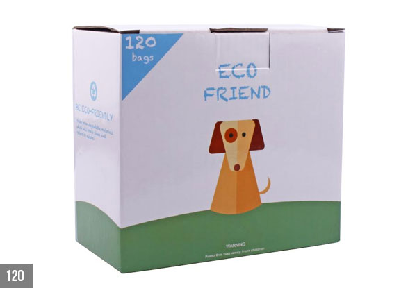 120 Biodegradable Dog Poop Bags with Dispenser - Option for 300 Bags