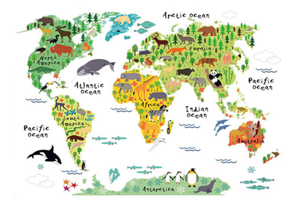 Animal World Map Wall Sticker  E2 80 A2 Grabone Nz