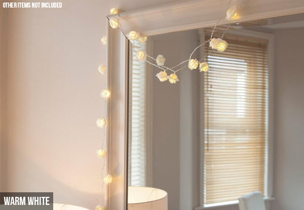 20 LED Rose Fairy Light String - Three Colours Available with Free Delivery