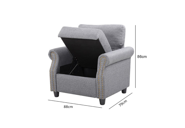 Linen Armchair with Storage - Two Colours Available