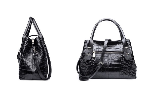 Leather Croc Style Handbag - Two Colours Available