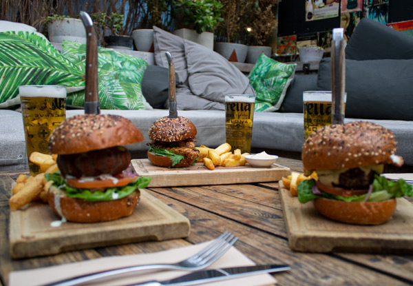 Burger & Beer Combo incl. Fries - Options for up to Four People Available