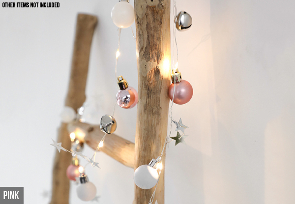 20-LED Battery-Operated Jingle Bell with Ball Decor String Light - Two Colours Available with Free Delivery