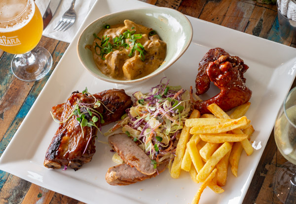 Shared Platter for Two incl. Tuatara Craft Beer or Any Wine Each with Beef Cheek Curry, Spare Pork Ribs, Chips & Sticky Wings - Options for up to Four People