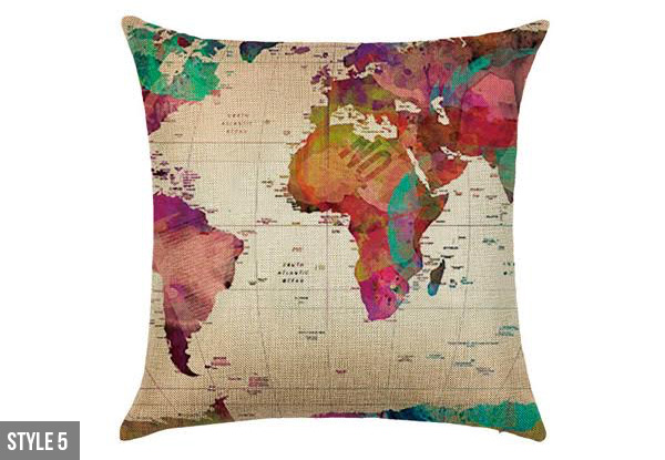 Old Style Map Printed Linen Cushion Cover