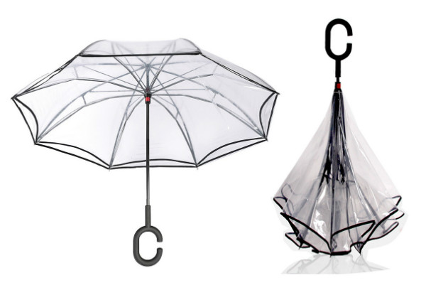 Reversible Blossom C-Handle Umbrella - Four Colours Available with Free Delivery