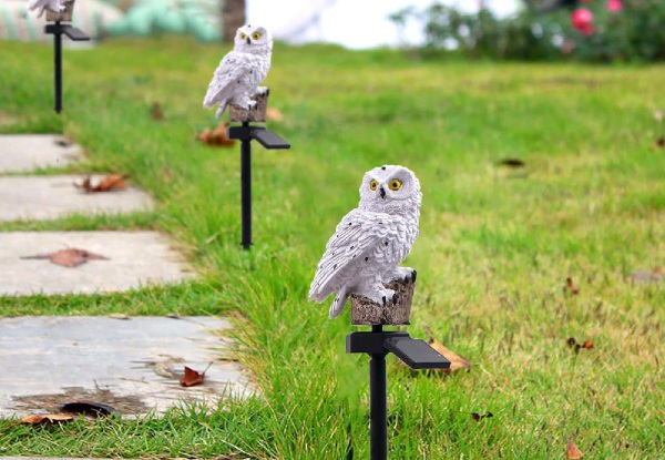 White Owl Solar-Powered Garden Light - Option for Two