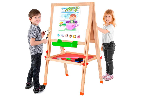 96cm Kids Double-Sided Adjustable Standing Whiteboard/Chalkboard - 116cm Option Available