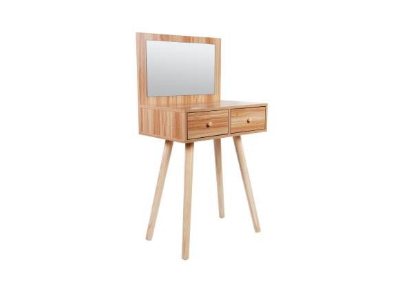 Modern Fashion Wood Dressing Table with Two Drawers & Mirror