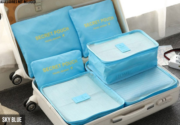 Six-Pack of Water-Resistant Luggage Organisers - Eight Colours Available