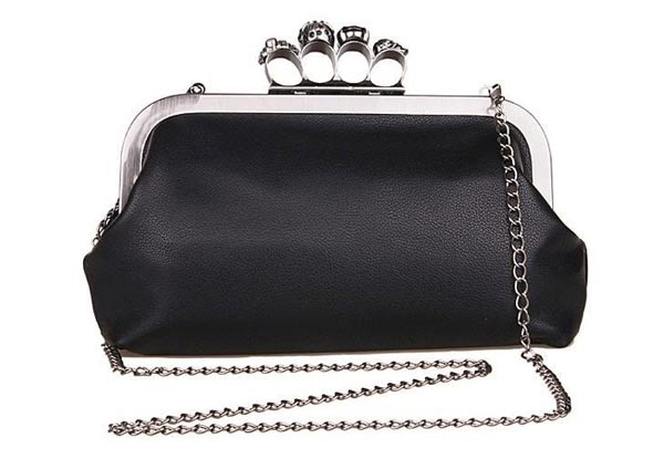 Clutch Bag Metal Clasp Silver Fabricated