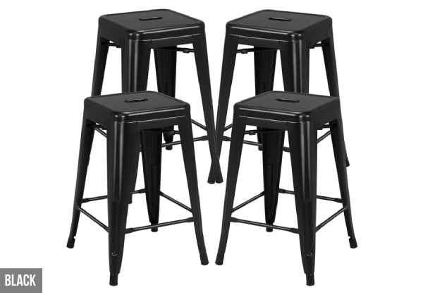 Set of Four Short Metal Bar Stools - Three Colours Available