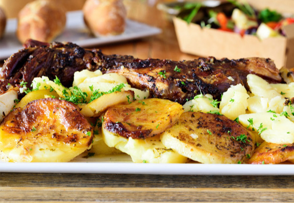 Super-Tender Whole Baked Lamb Shoulder with Rosemary, Garlic & Scalloped Potatoes - Option to incl. Large Minty Peas & Three Baguettes - Pick Up Only