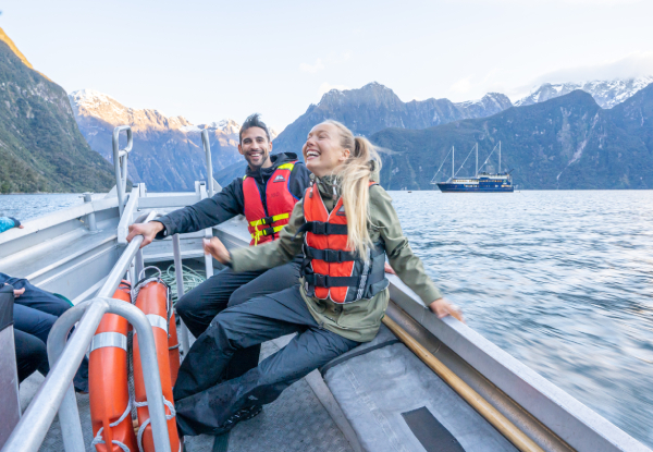 Milford Sound Overnight Cruise for Two People in a Twin/Double Private Cabin with Ensuite incl. Three-Course Buffet Dinner, Breakfast, & Activities incl. Kayaking or a Small Tender Craft