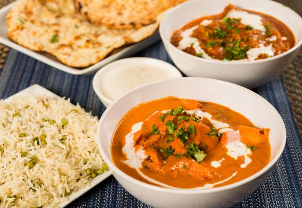 Any Two Chicken Curries for Two with Two Rice incl. Two Plain Naan & Two Poppadoms