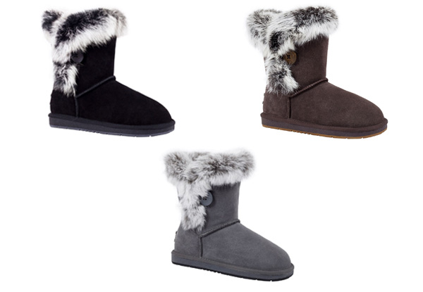 Auzland Women's 'Fame' Australian Sheepskin Fur Trim with Single Button UGG Boots - Three Colours & Six Sizes Available