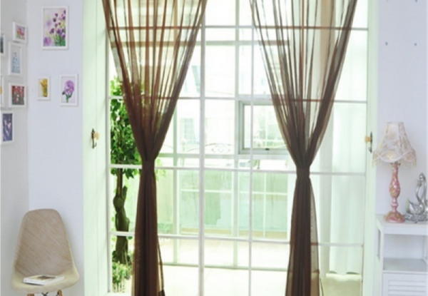 Pair of Sheer Window Curtains - Three Colours Available & Option for Two Pairs with Free Delivery