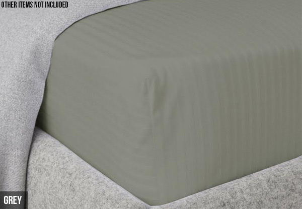 Fitted Sheet with Damask Strip - Four Colours & Three Sizes Available