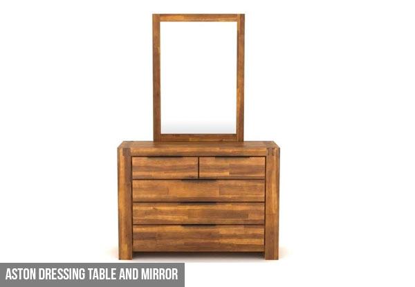 4 Piece Modus Kentfield Solid Wood Bedroom Set: Acacia Aston Furniture Range • GrabOne NZ