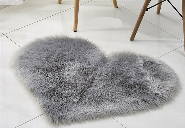 Heart Shaped Fluffy Rug - Seven Colours Available with Free Delivery