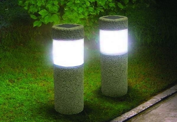 One Solar Power Stone Pillar Light - Options for Two or Four