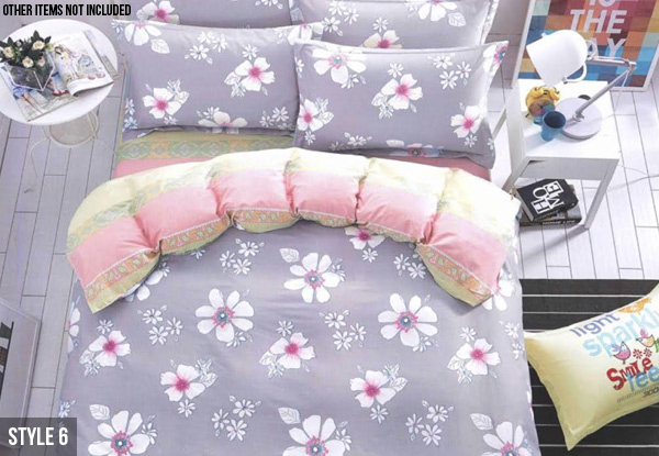 Three-Piece Cotton Duvet Set - Two Sizes & Six Designs Available