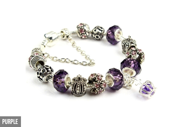 Retro Crystal Crown Beaded Bracelet - Six Colours Available