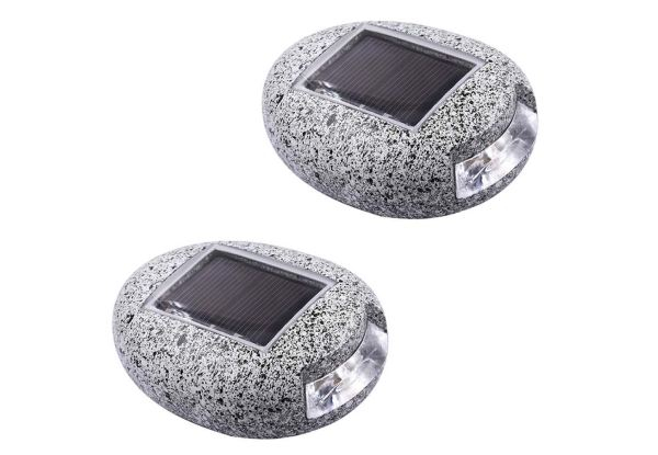 Two-Pack of Stone Shaped LED Solar Lights