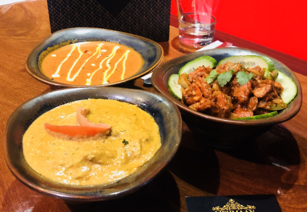 Indian Banquet for Two incl. Sizzling Entree Tasting Platter, Three Sharing Mains & Naan - Option for Four People Available