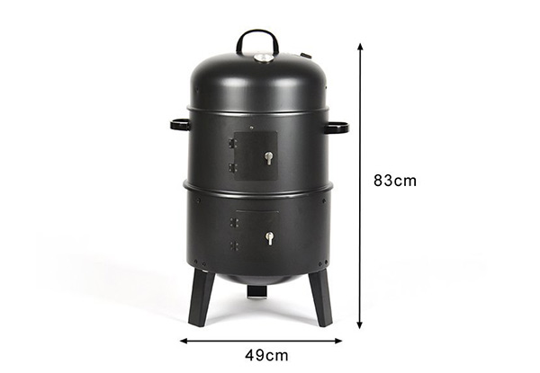 Three-in-One Charcoal Smoker, Roaster & BBQ Grill