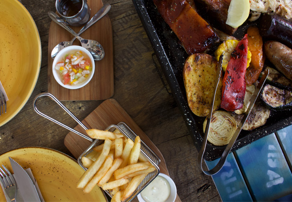BBQ Parrillada Platter to Share incl. Four Meats, Homemade Chorizo & Black Pudding, Salad, Fries & Selection of Sauces for Two People - Options for Four People