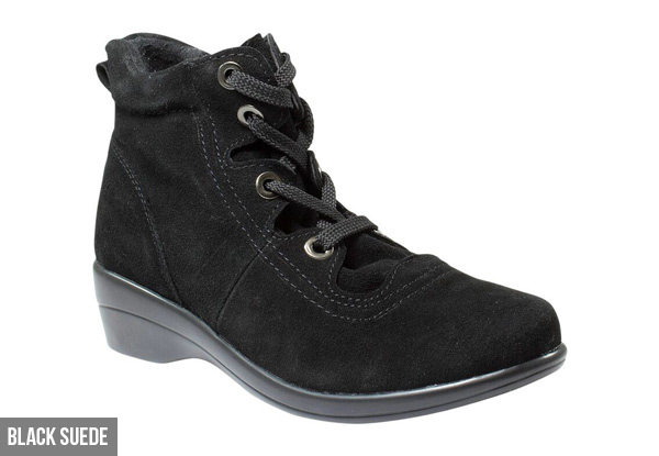 Women's Ankle Lace Up Boot with Low Wedge - Three Styles Available