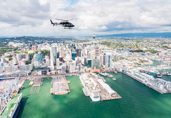 Scenic Helicopter Flight & Three Course Harbour Dining Experience for Two - Options for up to Six People & Chance to Get This Deal for Free