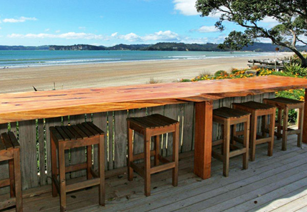Two-Night Coromandel Beachfront Break for Two People. incl. Free WiFi, Late Checkout, Use of Kayaks, Beach Bar, BBQ & Spa Pool – Options for Three Nights