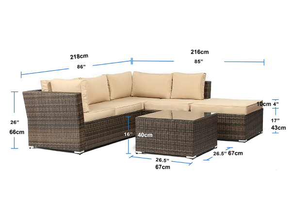 Four-Piece Suncrown All-Weather Outdoor Sectional Sofa Set