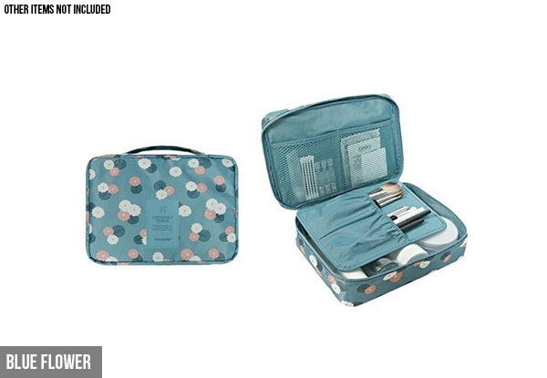 Two-Pack Floral Makeup Organiser Bags - Four Colours Available
