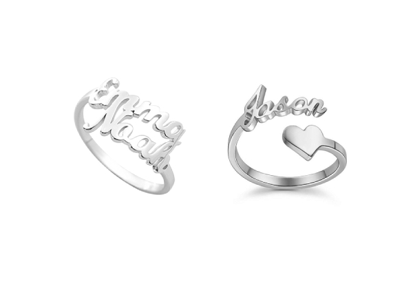 Personalised Silver 925 Name Ring - Two Designs Available