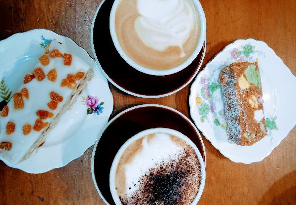 Two Regular Coffees & Any Two Handmade Slices for Two People to Enjoy at Vi's Historic Tea House