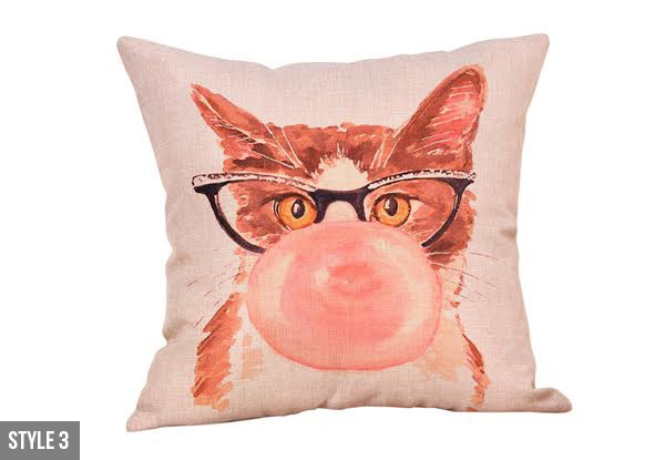 Cat Printed Linen Cushion Cover - Four Styles Available