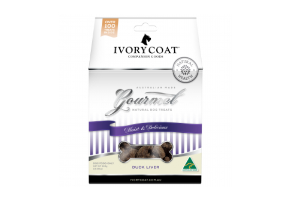 5 x 300g Carton of Ivory Coat Gourmet Dog Treats - Duck Liver Flavour