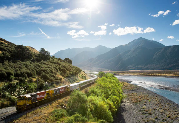 TranzAlpine Lake Brunner Getaway Package for Two People incl. TranzAlpine Train Return, Two-Nights Accommodation at Hotel Lake Brunner, Scenic Boat Lake Tour & a Monteith's Brewery Personalised Bottle Tour