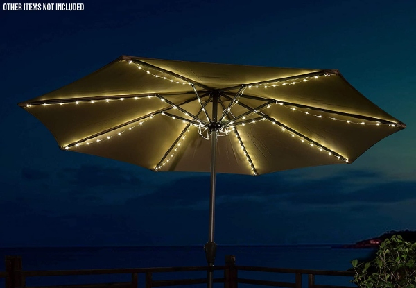 104-LED Solar-Powered String Lights Outdoor Umbrella