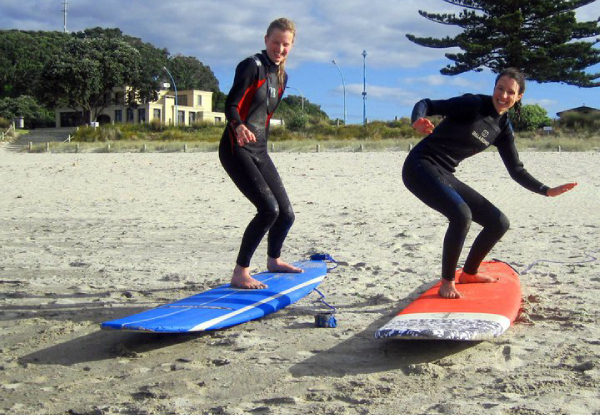 Two-Hour Beginner Surf Lesson incl. Boards, Wetsuits & $5 Return Voucher Off Surf Gear Hire for One Person- Options for up to Eight People