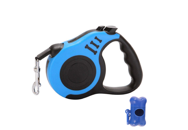 5M Retractable Dog Leash With Waste Dispenser - Two Colours Available